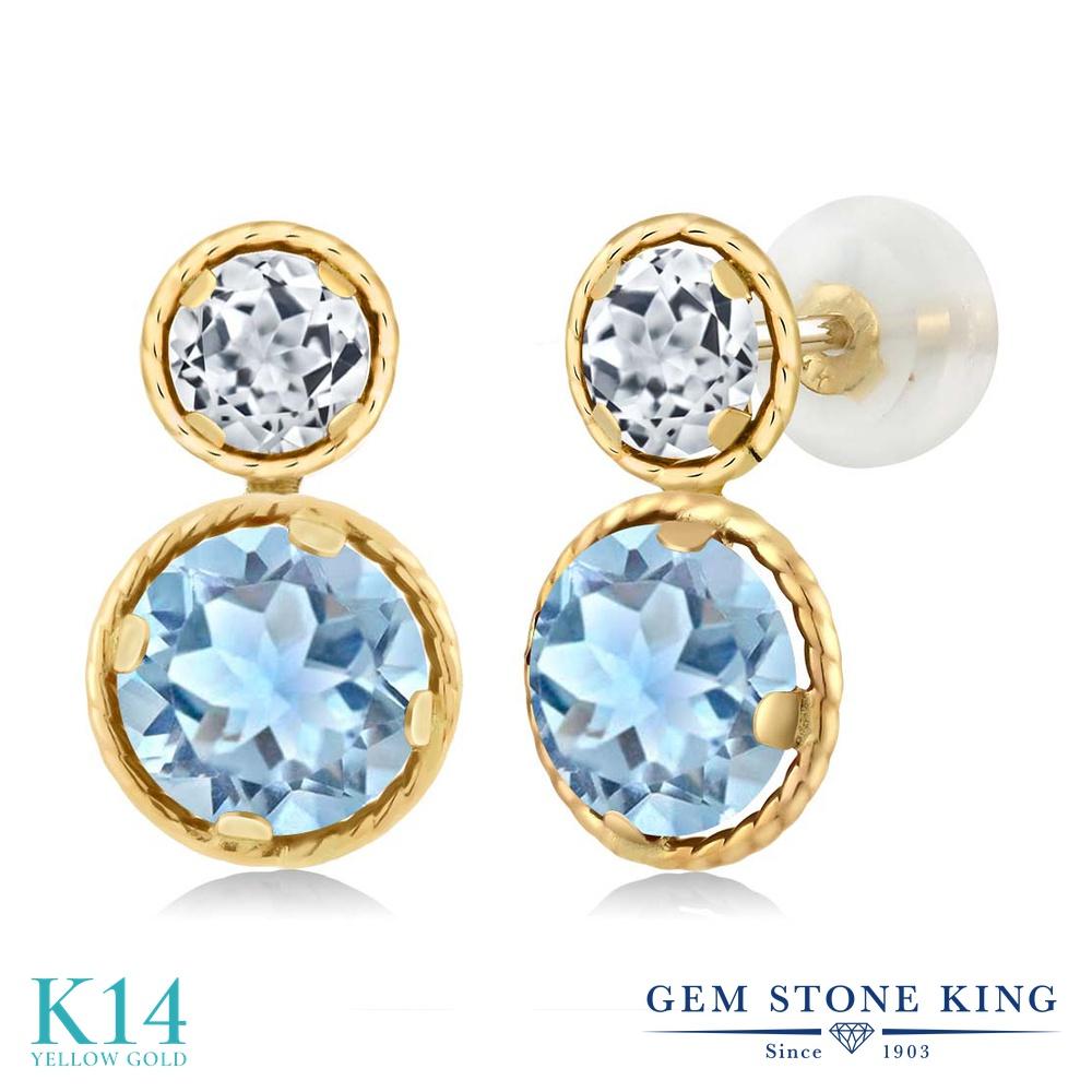Gem Stone King 2.16カラット 天然 アクアマリン 天然 トパーズ (無色透明) 14金 イエローゴールド(K14) ピアス レディース ぶら下がり 天然石 3月 誕生石 金属アレルギー対応 誕生日プレゼント