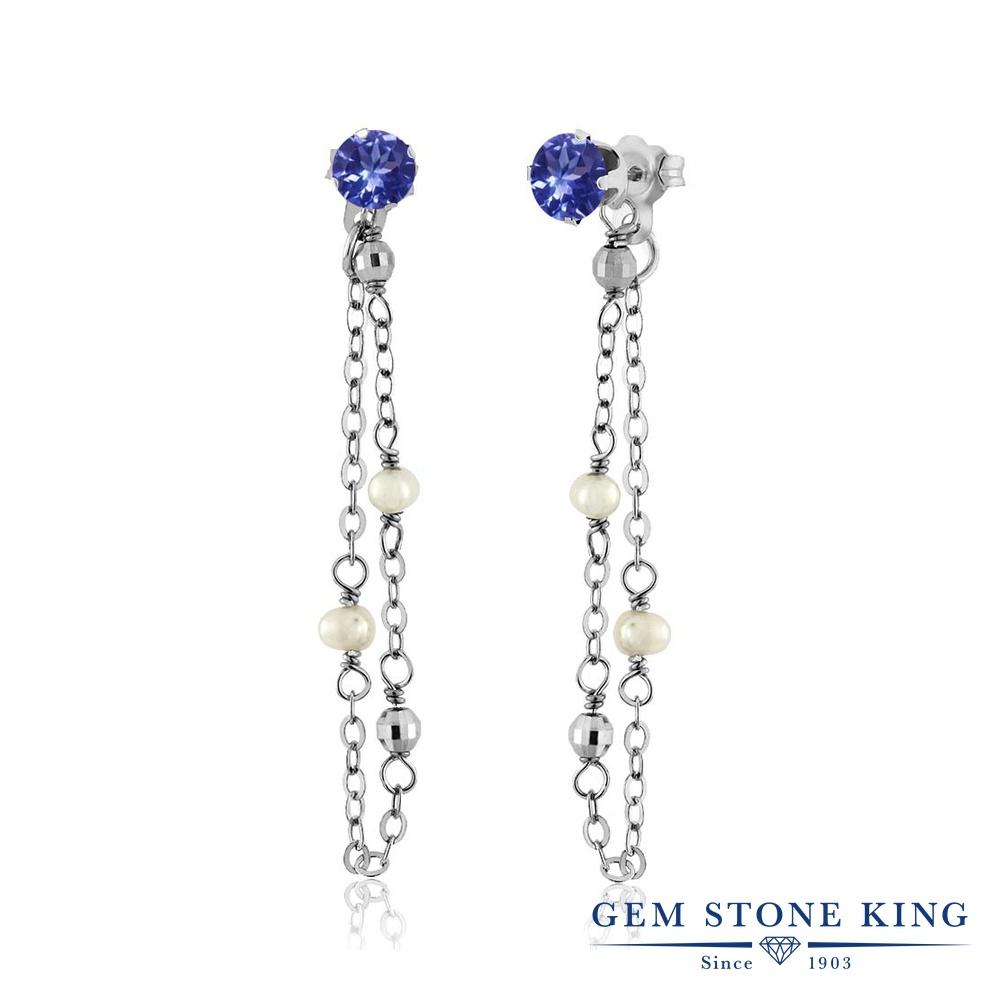 Gem Stone King クリーム 淡水養殖真珠 0.92カラット シルバー925(純銀) ピアス レディース パール 小粒 シンプル ぶら下がり 華奢 細身 天然石 6月 誕生石 金属アレルギー対応 誕生日プレゼント