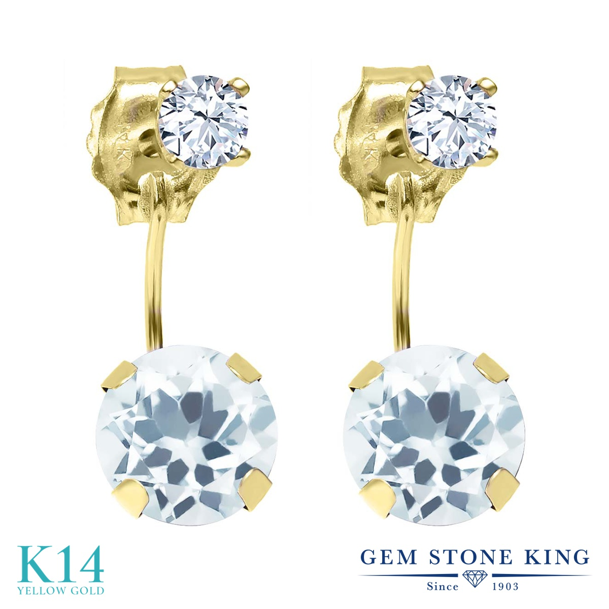 Gem Stone King 1.78カラット 天然アクアマリン 天然トパーズ(無色透明) 14金 イエローゴールド(K14) ピアス レディース ぶら下がり 天然石 誕生石 金属アレルギー対応 誕生日プレゼント
