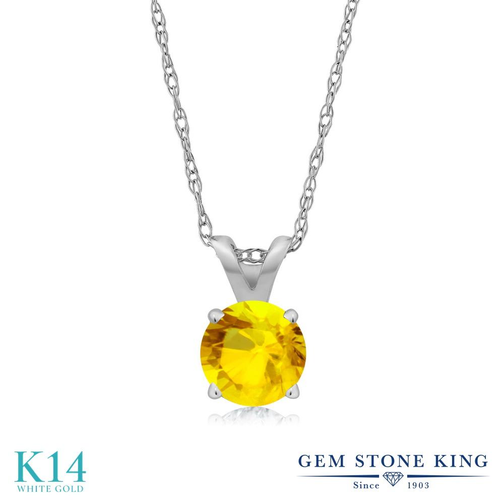 Gem Stone King 0.36カラット 天然 イエローサファイア 14金 ホワイトゴールド(K14) ネックレス ペンダント レディース 小粒 一粒 シンプル 天然石 9月 誕生石 金属アレルギー対応 誕生日プレゼント