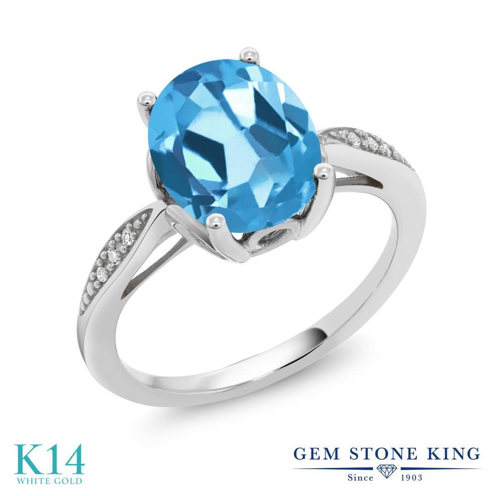 Gem Stone King 2.74カラット 天然 スイスブルートパーズ 天然 ダイヤモンド 14金 ホワイトゴールド(K14) 指輪 リング レディース 大粒 ソリティア 天然石 11月 誕生石 金属アレルギー対応 誕生日プレゼント