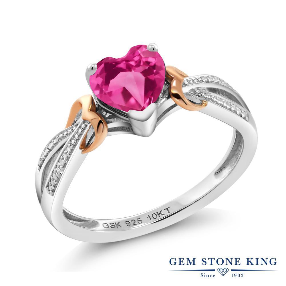 Gem Stone King 0.81カラット 合成ピンクサファイア シルバー925 &10金 ピンクゴールド (K10) 天然ダイヤモンド 指輪 リング レディース シンプル ソリティア 金属アレルギー対応 誕生日プレゼント