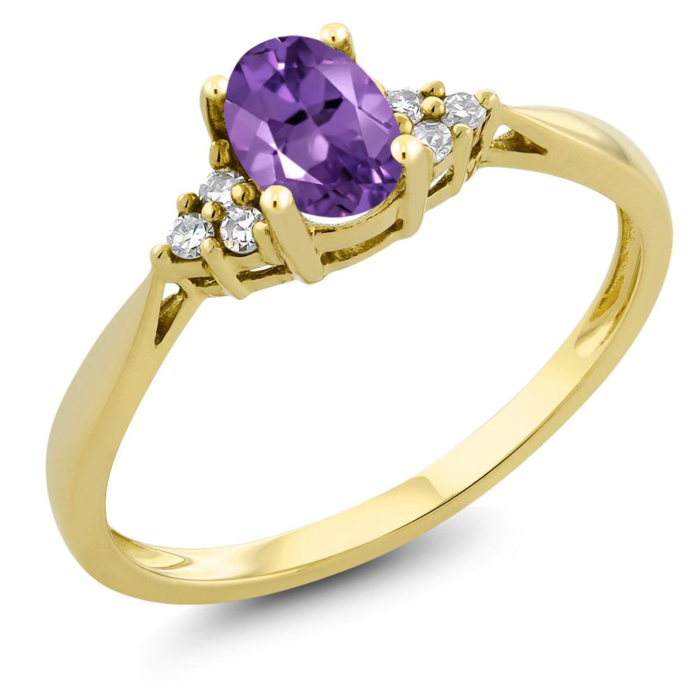 Gem Stone King 0.35カラット 天然 アメジスト 天然 ダイヤモンド 14金 イエローゴールド(K14) 指輪 リング レディース 小粒 ソリティア 華奢 細身 天然石 2月 誕生石 金属アレルギー対応 誕生日プレゼント