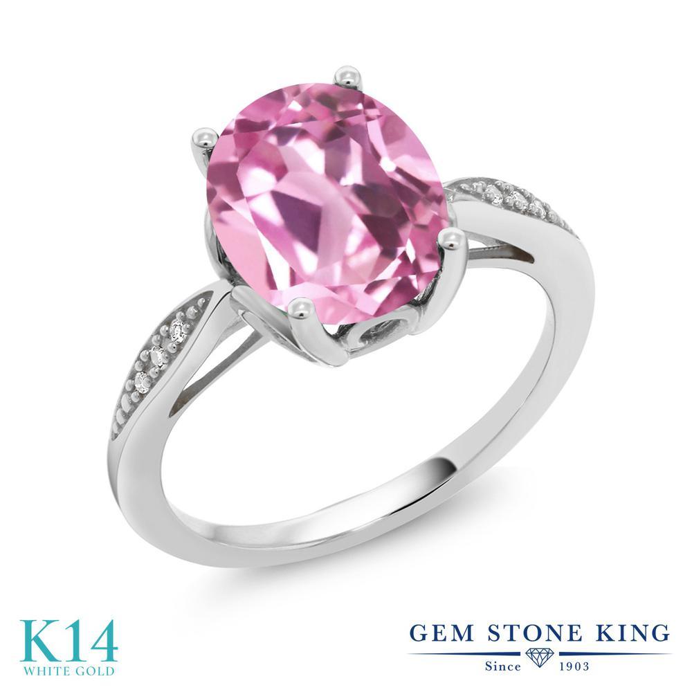 Gem Stone King 3.04カラット 合成ライトピンクサファイア 天然 ダイヤモンド 14金 ホワイトゴールド(K14) 指輪 リング レディース 大粒 ソリティア 金属アレルギー対応 誕生日プレゼント