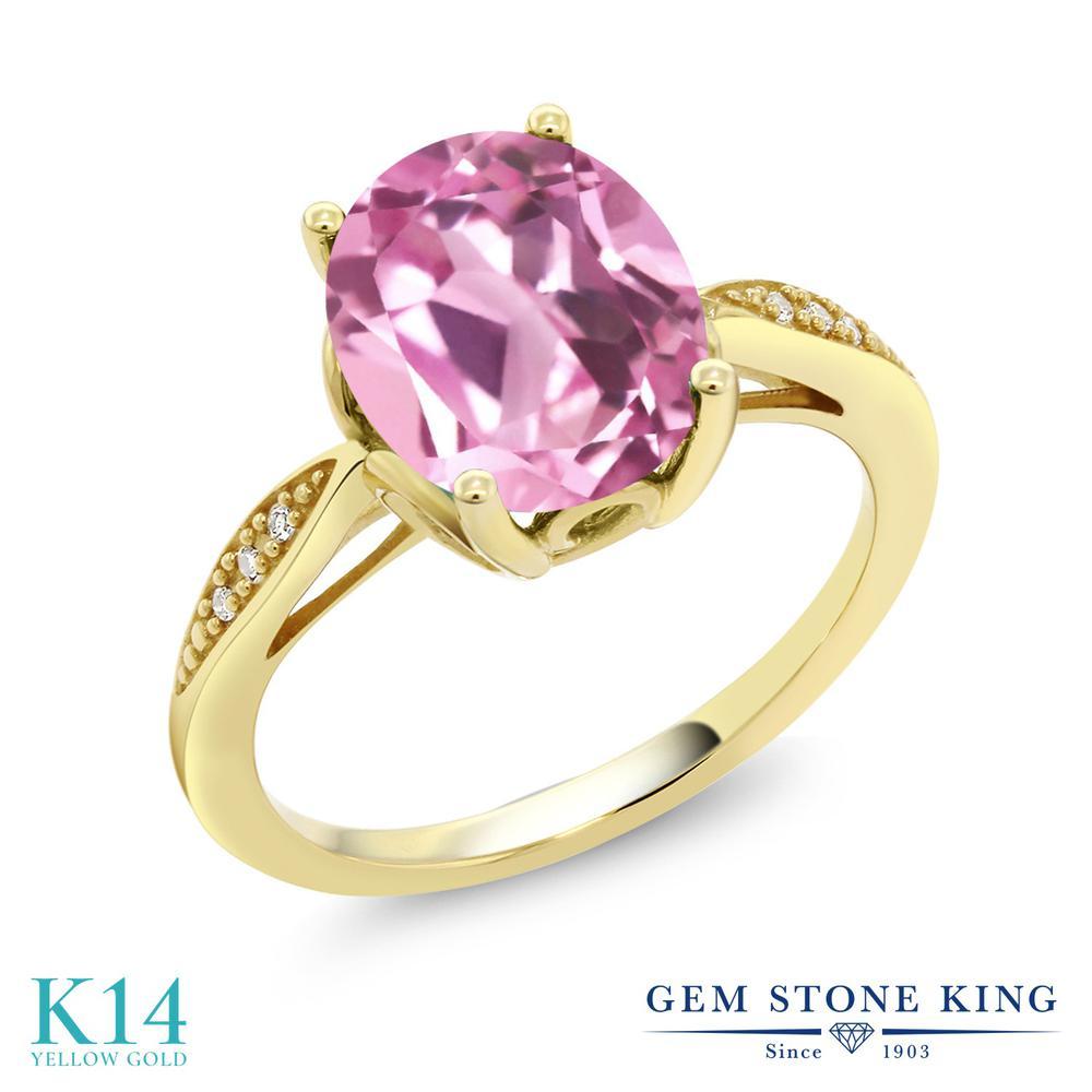 Gem Stone King 3.04カラット 合成ライトピンクサファイア 天然 ダイヤモンド 14金 イエローゴールド(K14) 指輪 リング レディース 大粒 ソリティア 金属アレルギー対応 誕生日プレゼント