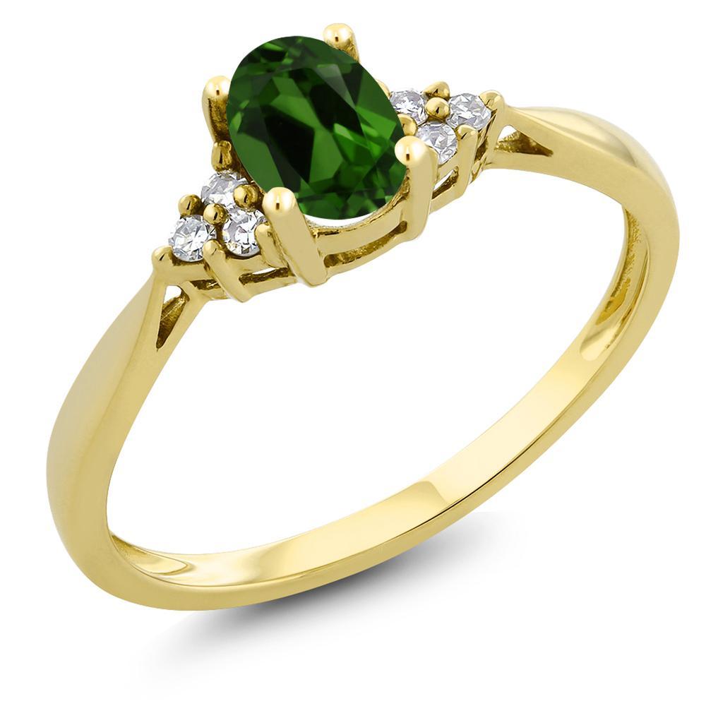 Gem Stone King 0.45カラット 天然 クロムダイオプサイド 天然 ダイヤモンド 14金 イエローゴールド(K14) 指輪 リング レディース 小粒 ソリティア 天然石 金属アレルギー対応 誕生日プレゼント