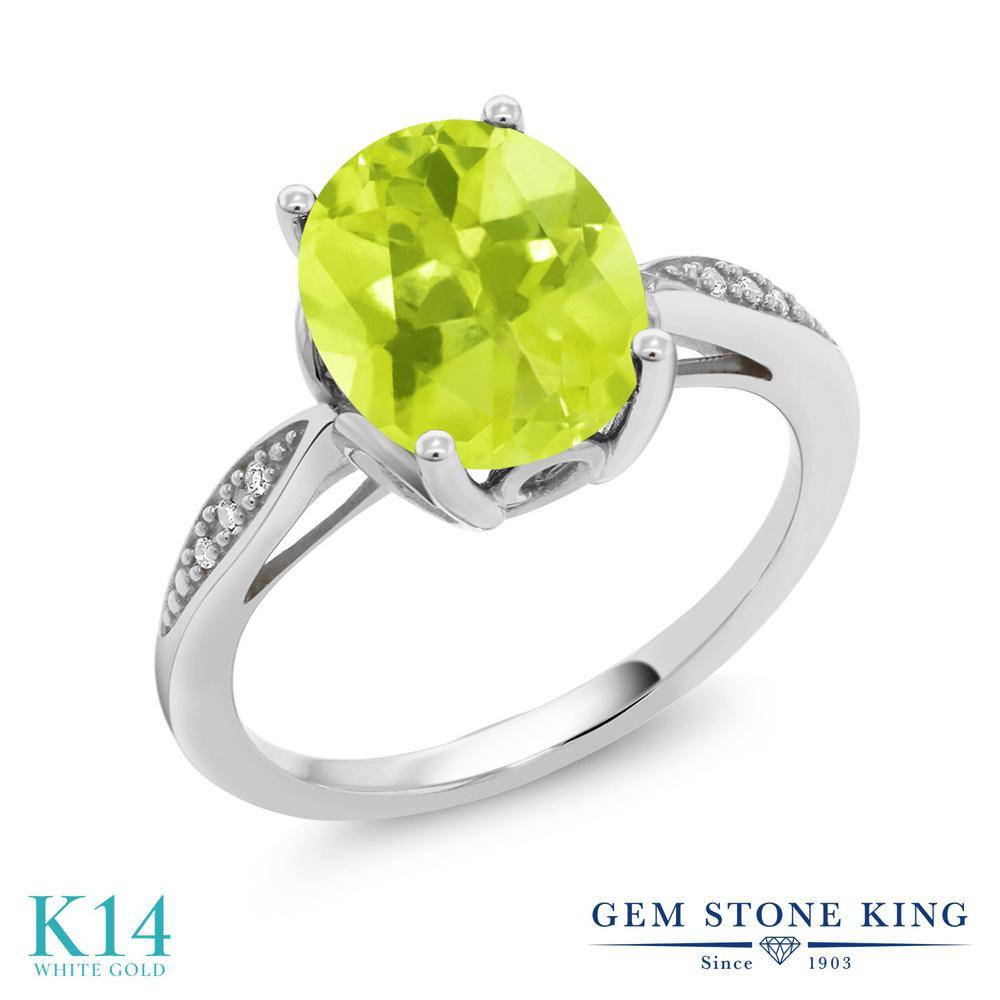Gem Stone King 2.04カラット 天然 レモンクォーツ 天然 ダイヤモンド 14金 ホワイトゴールド(K14) 指輪 リング レディース 大粒 ソリティア 天然石 金属アレルギー対応 誕生日プレゼント