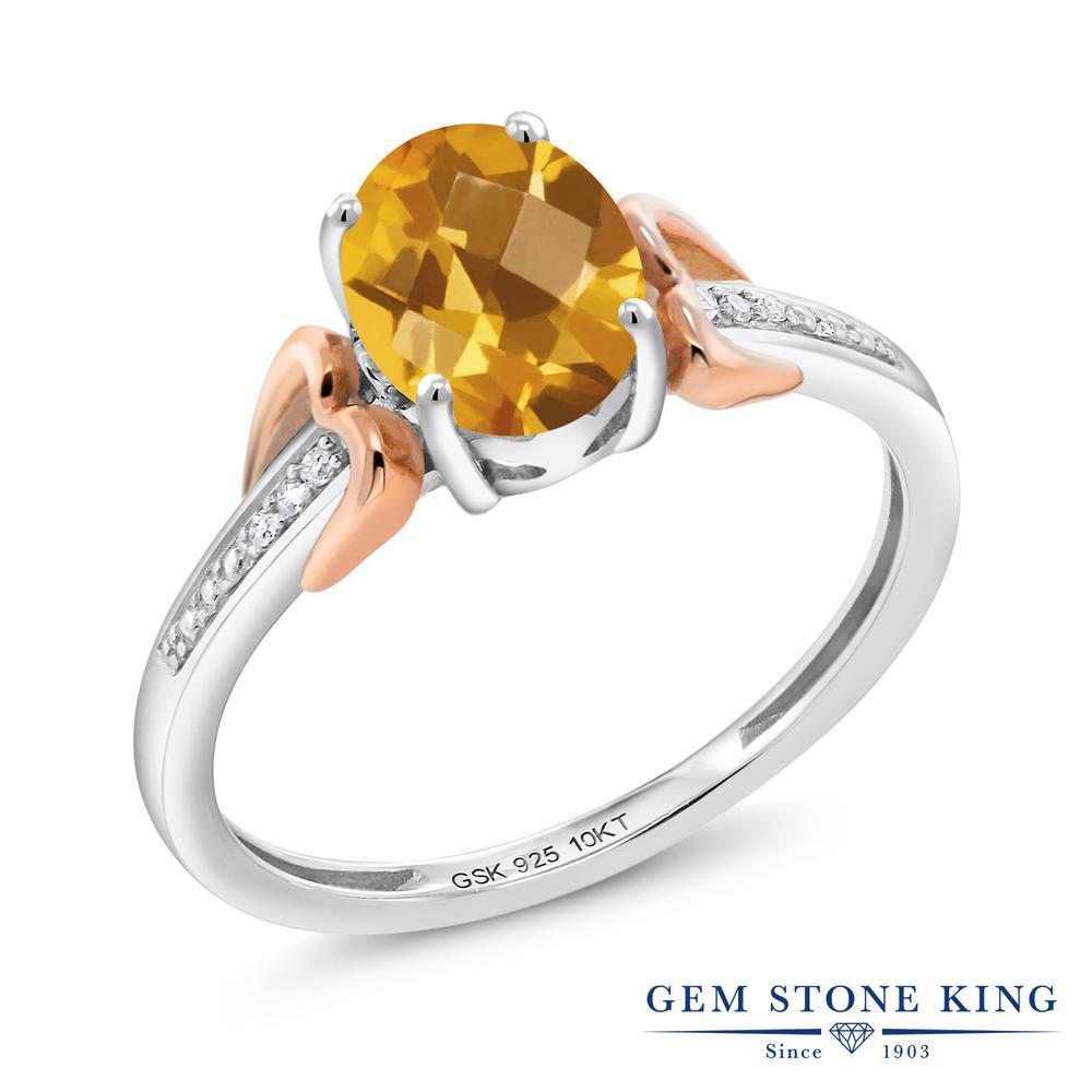 Gem Stone King 1.25カラット 天然 シトリン ダイヤモンド &指輪 リング レディース 10金 ピンクゴールド K10 シルバー925 大粒 マルチストーン 天然石 11月 誕生石 金属アレルギー対応