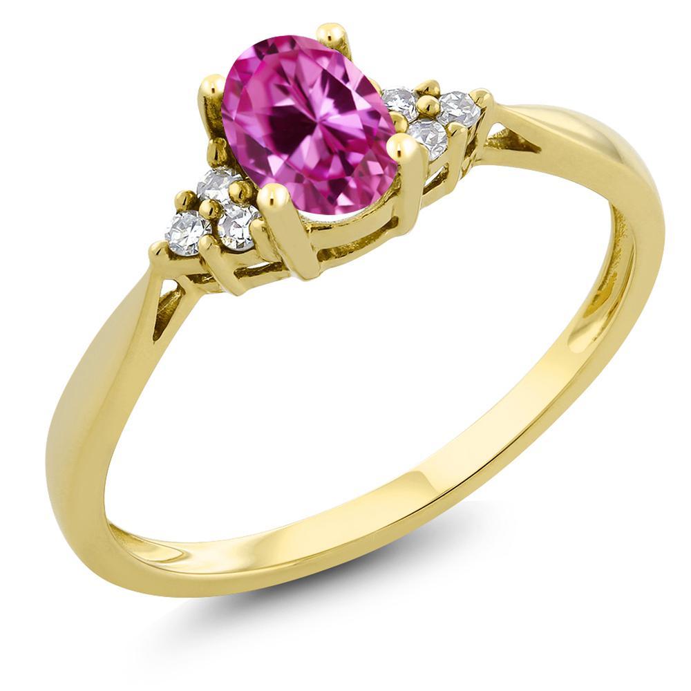 Gem Stone King 0.5カラット 合成ピンクサファイア 天然 ダイヤモンド 14金 イエローゴールド(K14) 指輪 リング レディース 小粒 ソリティア 金属アレルギー対応 誕生日プレゼント