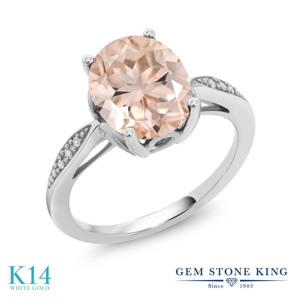【クーポンで10%OFF】 Gem Stone King 2.74カラット 天然 モルガナイト (ピーチ) 天然 ダイヤモンド 14金 ホワイトゴールド(K14) 指輪 リング レディース 大粒 ソリティア 天然石 3月 誕生石 金属アレルギー対応 誕生日プレゼント
