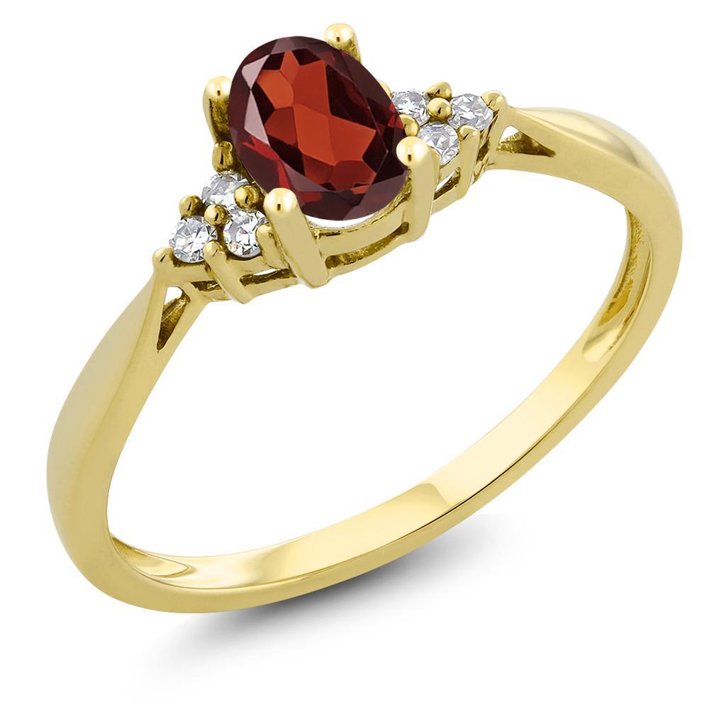 Gem Stone King 0.5カラット 天然 ガーネット 天然 ダイヤモンド 14金 イエローゴールド(K14) 指輪 リング レディース 小粒 ソリティア 天然石 1月 誕生石 金属アレルギー対応 誕生日プレゼント
