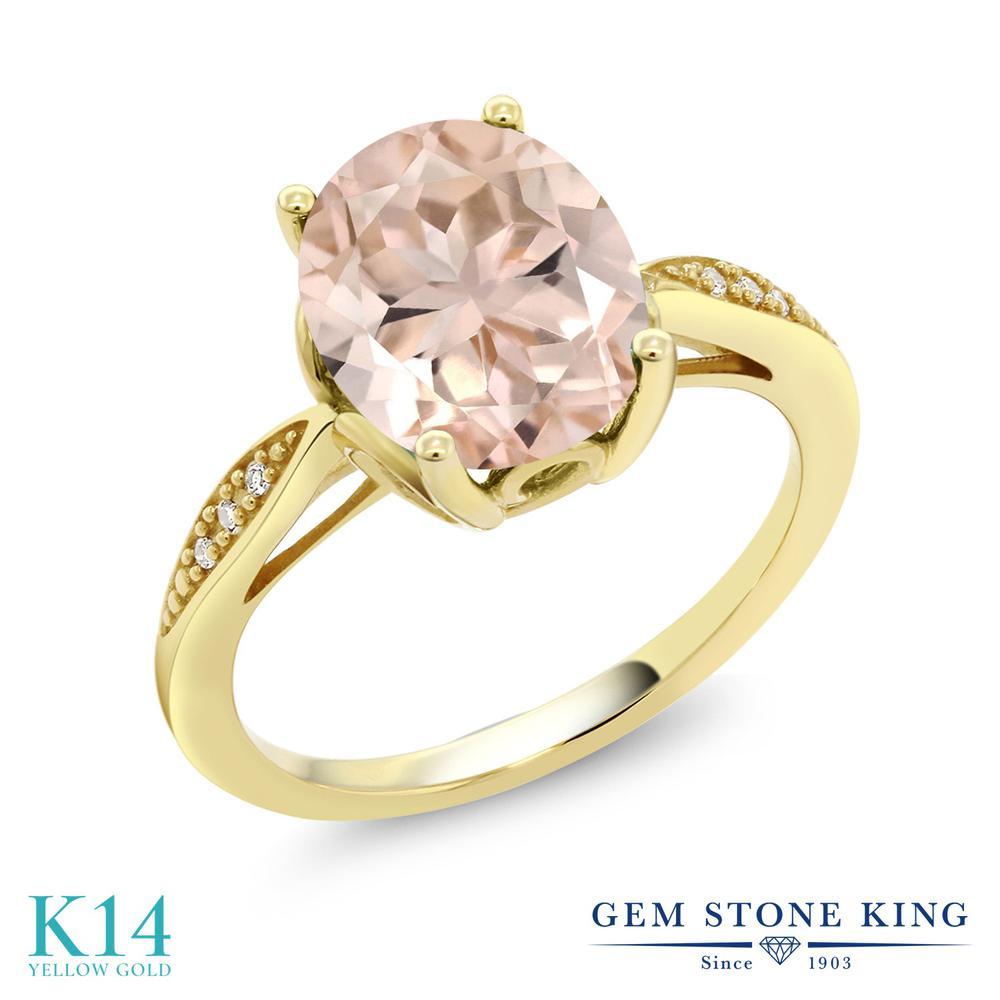 【クーポンで10%OFF】 Gem Stone King 2.74カラット 天然 モルガナイト (ピーチ) 天然 ダイヤモンド 14金 イエローゴールド(K14) 指輪 リング レディース 大粒 ソリティア 天然石 3月 誕生石 金属アレルギー対応 誕生日プレゼント