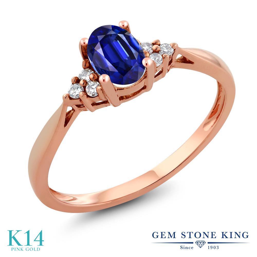 Gem Stone King 0.6カラット 天然 カイヤナイト (ブルー) 天然 ダイヤモンド 14金 ピンクゴールド(K14) 指輪 リング レディース ソリティア 天然石 金属アレルギー対応 誕生日プレゼント