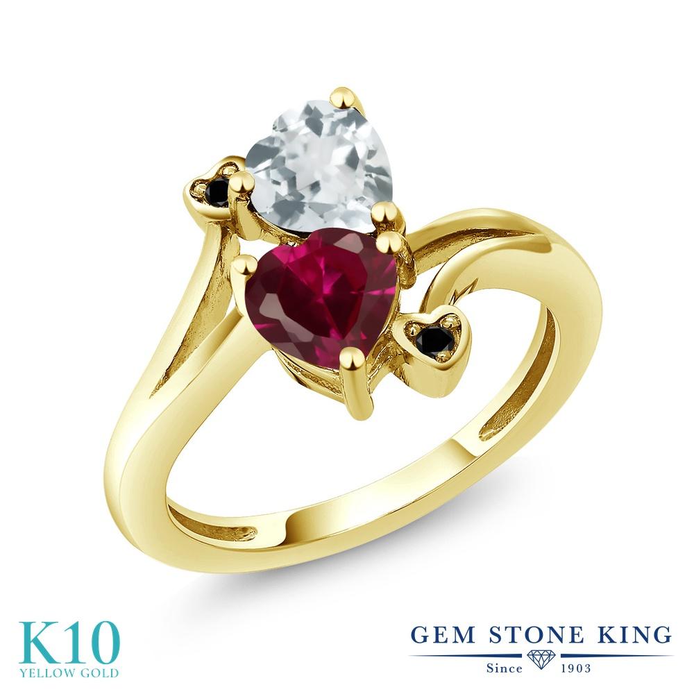 Gem Stone King 1.67カラット 合成ルビー 天然 アクアマリン 天然ブラックダイヤモンド 10金 イエローゴールド(K10) 指輪 リング レディース ダブルストーン 金属アレルギー対応 誕生日プレゼント