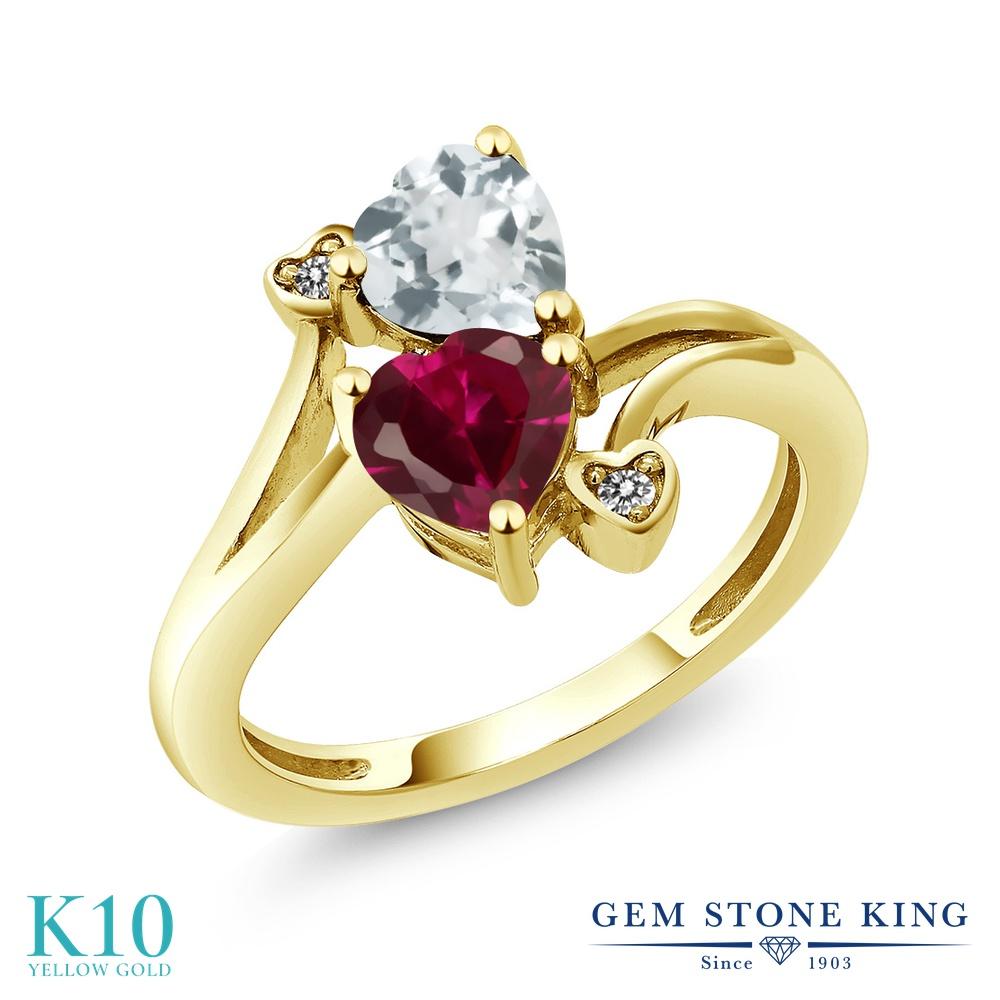 Gem Stone King 1.67カラット 合成ルビー 天然 アクアマリン 天然 ダイヤモンド 10金 イエローゴールド(K10) 指輪 リング レディース ダブルストーン 金属アレルギー対応 誕生日プレゼント