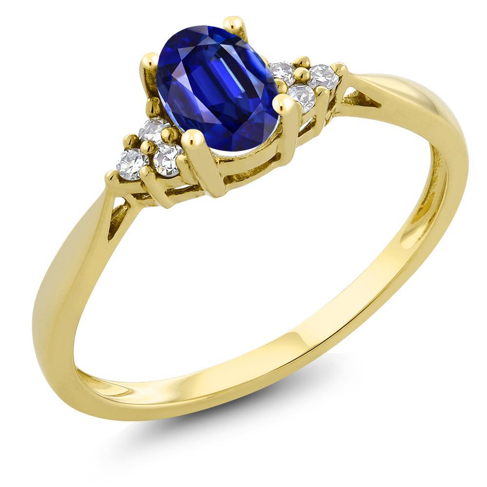 Gem Stone King 0.6カラット 天然 カイヤナイト (ブルー) 天然 ダイヤモンド 14金 イエローゴールド(K14) 指輪 リング レディース ソリティア 天然石 金属アレルギー対応 誕生日プレゼント