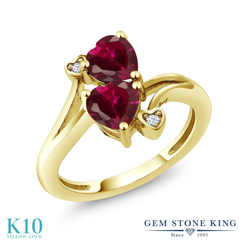 Gem Stone King 1.95カラット 合成ルビー 10金 イエローゴールド(K10) 指輪 リング レディース ダブルストーン 金属アレルギー対応 誕生日プレゼント