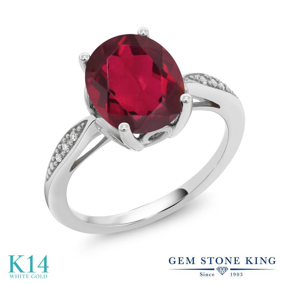 Gem Stone King 2.74カラット 天然 ミスティッククォーツ (ルビーレッド) 天然 ダイヤモンド 14金 ホワイトゴールド(K14) 指輪 リング レディース 大粒 ソリティア 天然石 金属アレルギー対応 誕生日プレゼント