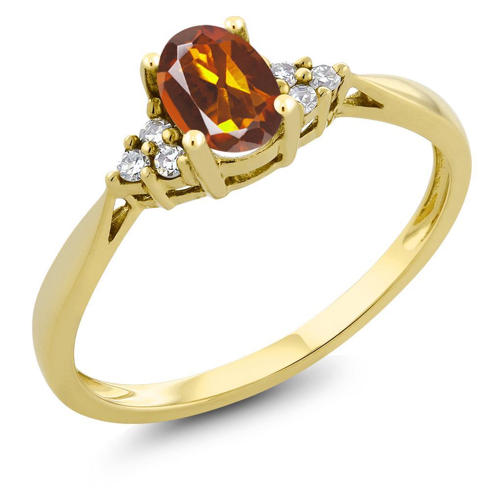 Gem Stone King 0.4カラット 天然 マデイラシトリン (オレンジレッド) 天然 ダイヤモンド 14金 イエローゴールド(K14) 指輪 リング レディース 小粒 ソリティア 天然石 金属アレルギー対応 誕生日プレゼント