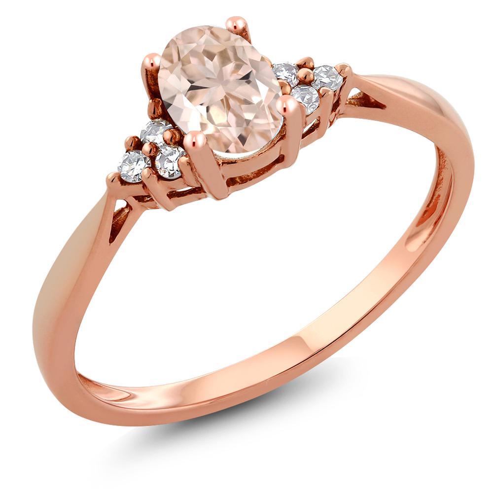 Gem Stone King 0.44カラット 天然 モルガナイト (ピーチ) 天然 ダイヤモンド 14金 ピンクゴールド(K14) 指輪 リング レディース 小粒 ソリティア 天然石 3月 誕生石 金属アレルギー対応 誕生日プレゼント
