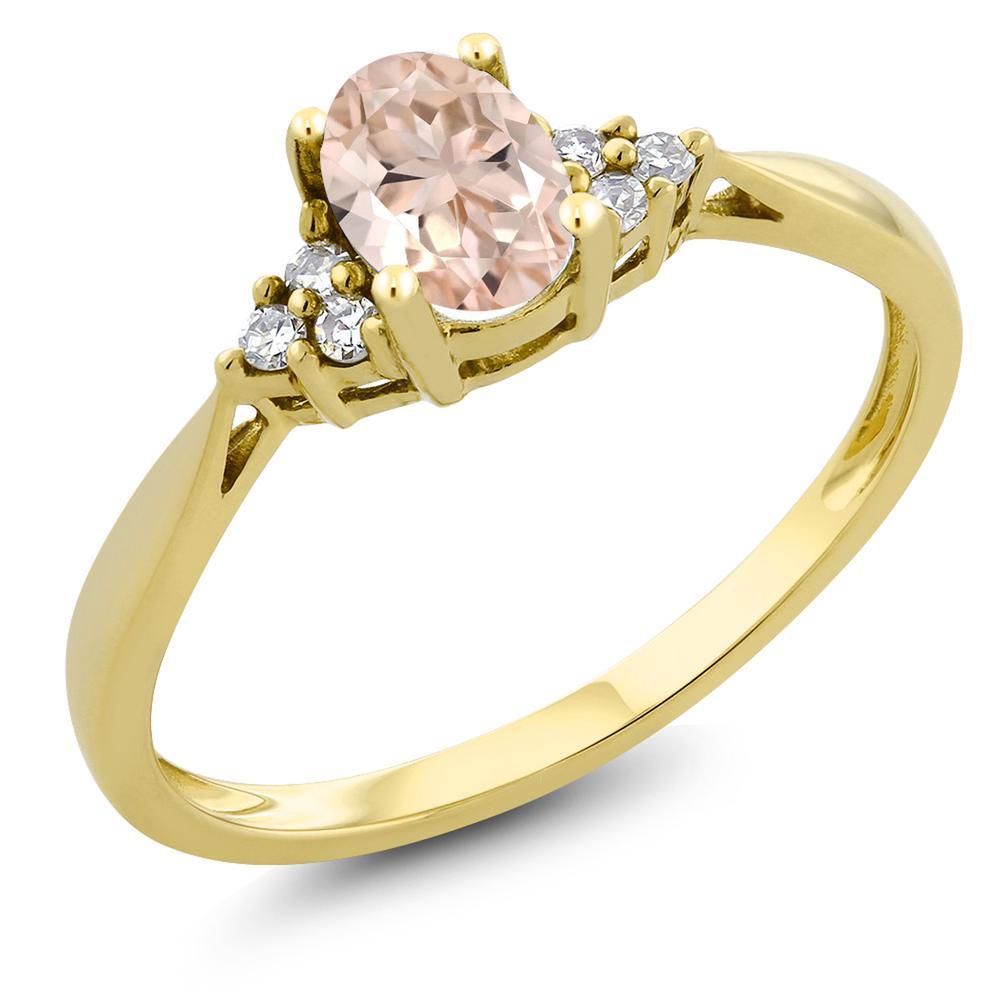 Gem Stone King 0.44カラット 天然 モルガナイト (ピーチ) 天然 ダイヤモンド 14金 イエローゴールド(K14) 指輪 リング レディース 小粒 ソリティア 天然石 3月 誕生石 金属アレルギー対応 誕生日プレゼント
