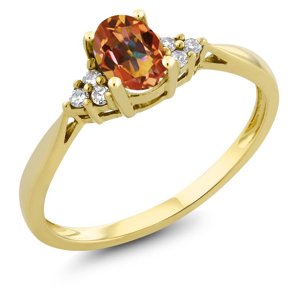 Gem Stone King 0.5カラット 天然石 エクスタシーミスティックトパーズ 天然 ダイヤモンド 14金 イエローゴールド(K14) 指輪 リング レディース 小粒 ソリティア 天然石 金属アレルギー対応 誕生日プレゼント