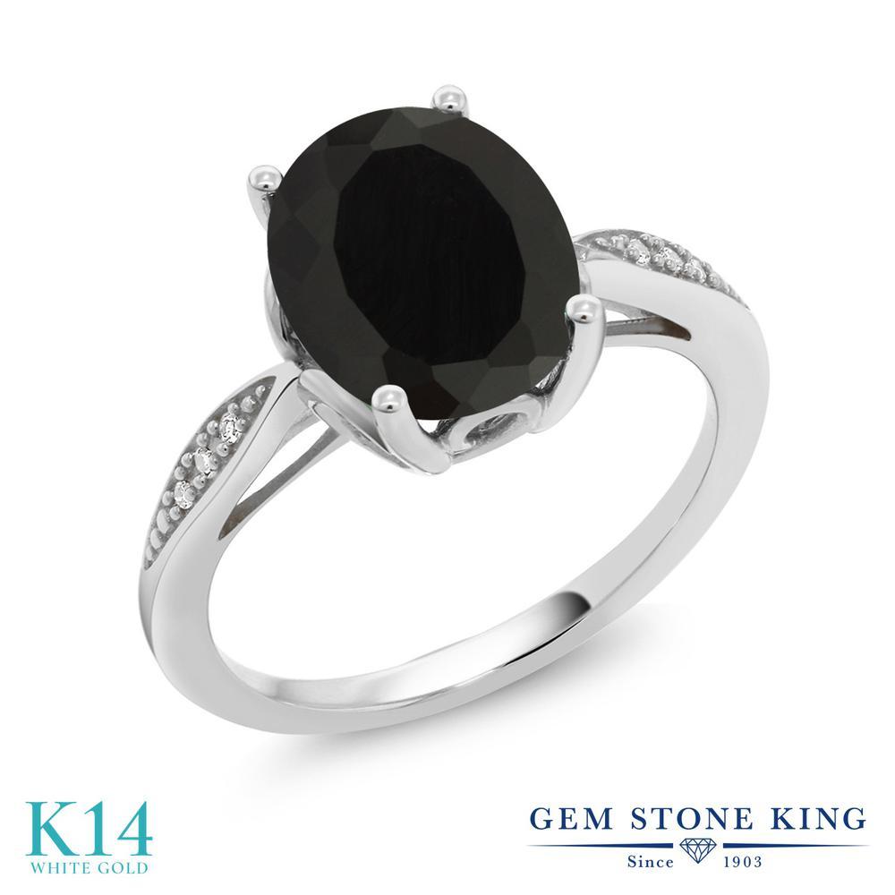 Gem Stone King 2.54カラット 天然 オニキス 天然 ダイヤモンド 14金 ホワイトゴールド(K14) 指輪 リング レディース 大粒 ソリティア 天然石 8月 誕生石 金属アレルギー対応 誕生日プレゼント
