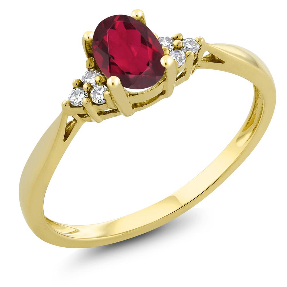 Gem Stone King 0.5カラット 天然 ミスティックトパーズ (ルビーレッド) 天然 ダイヤモンド 14金 イエローゴールド(K14) 指輪 リング レディース 小粒 ソリティア 天然石 金属アレルギー対応 誕生日プレゼント