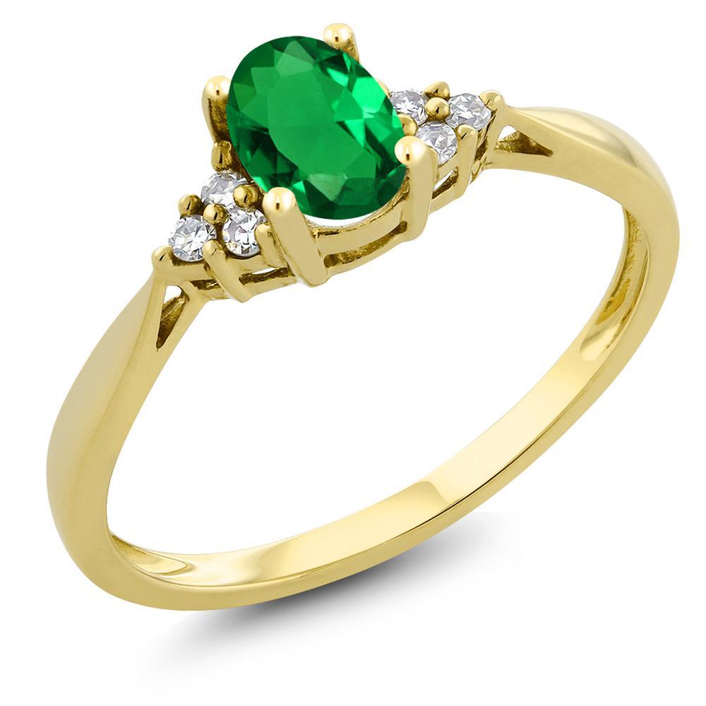 Gem Stone King 0.4カラット ナノエメラルド 天然 ダイヤモンド 14金 イエローゴールド(K14) 指輪 リング レディース 小粒 ソリティア 金属アレルギー対応 誕生日プレゼント