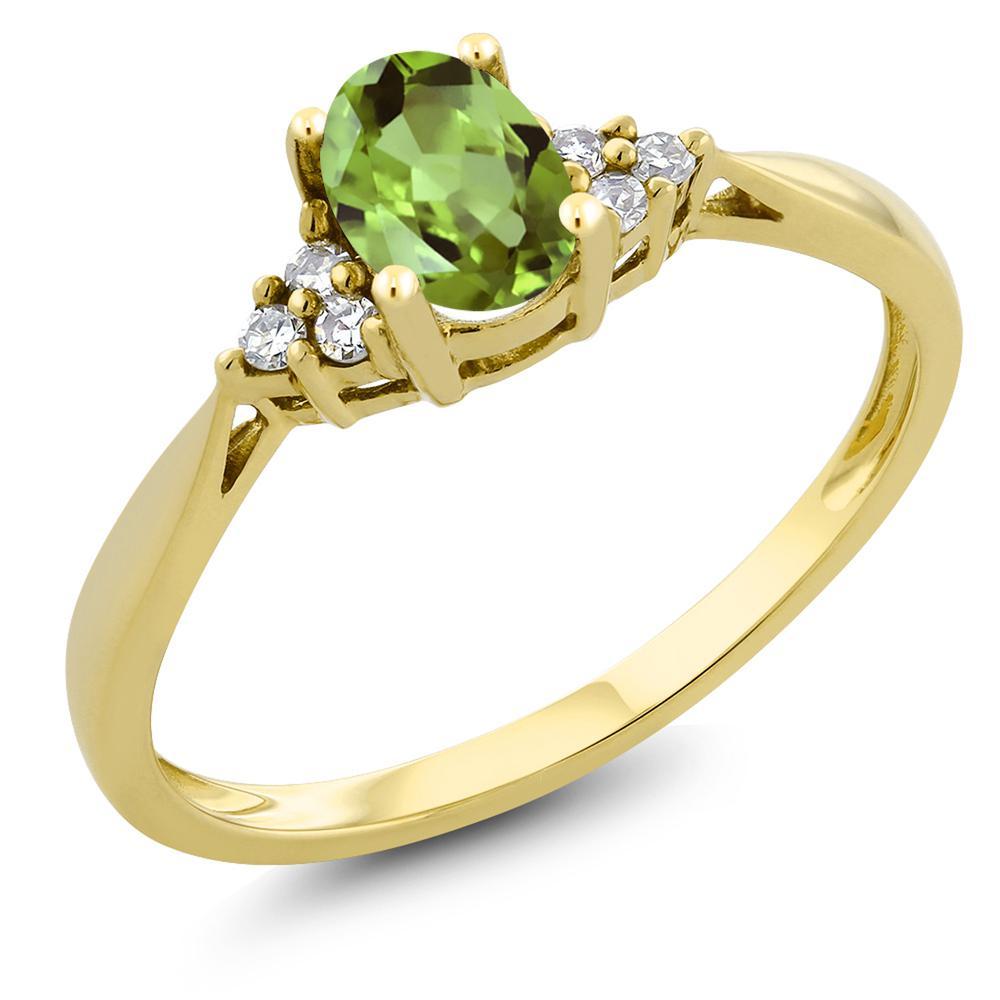 Gem Stone King 0.5カラット 天然石 ペリドット 天然 ダイヤモンド 14金 イエローゴールド(K14) 指輪 リング レディース 小粒 ソリティア 天然石 8月 誕生石 金属アレルギー対応 誕生日プレゼント