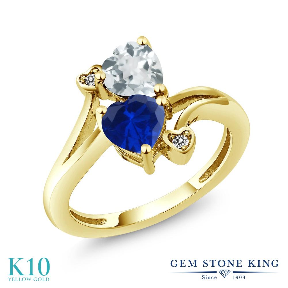 Gem Stone King 1.5カラット シミュレイテッド サファイア 天然 アクアマリン 天然 ダイヤモンド 10金 イエローゴールド(K10) 指輪 リング レディース ダブルストーン 金属アレルギー対応 誕生日プレゼント