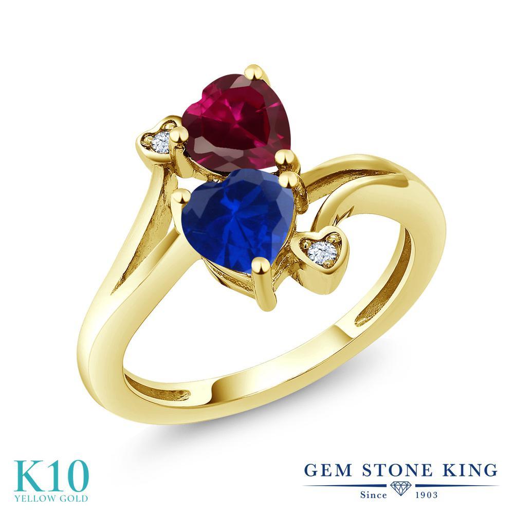 Gem Stone King 1.79カラット シミュレイテッド サファイア 合成ルビー 10金 イエローゴールド(K10) 指輪 リング レディース ダブルストーン 金属アレルギー対応 誕生日プレゼント
