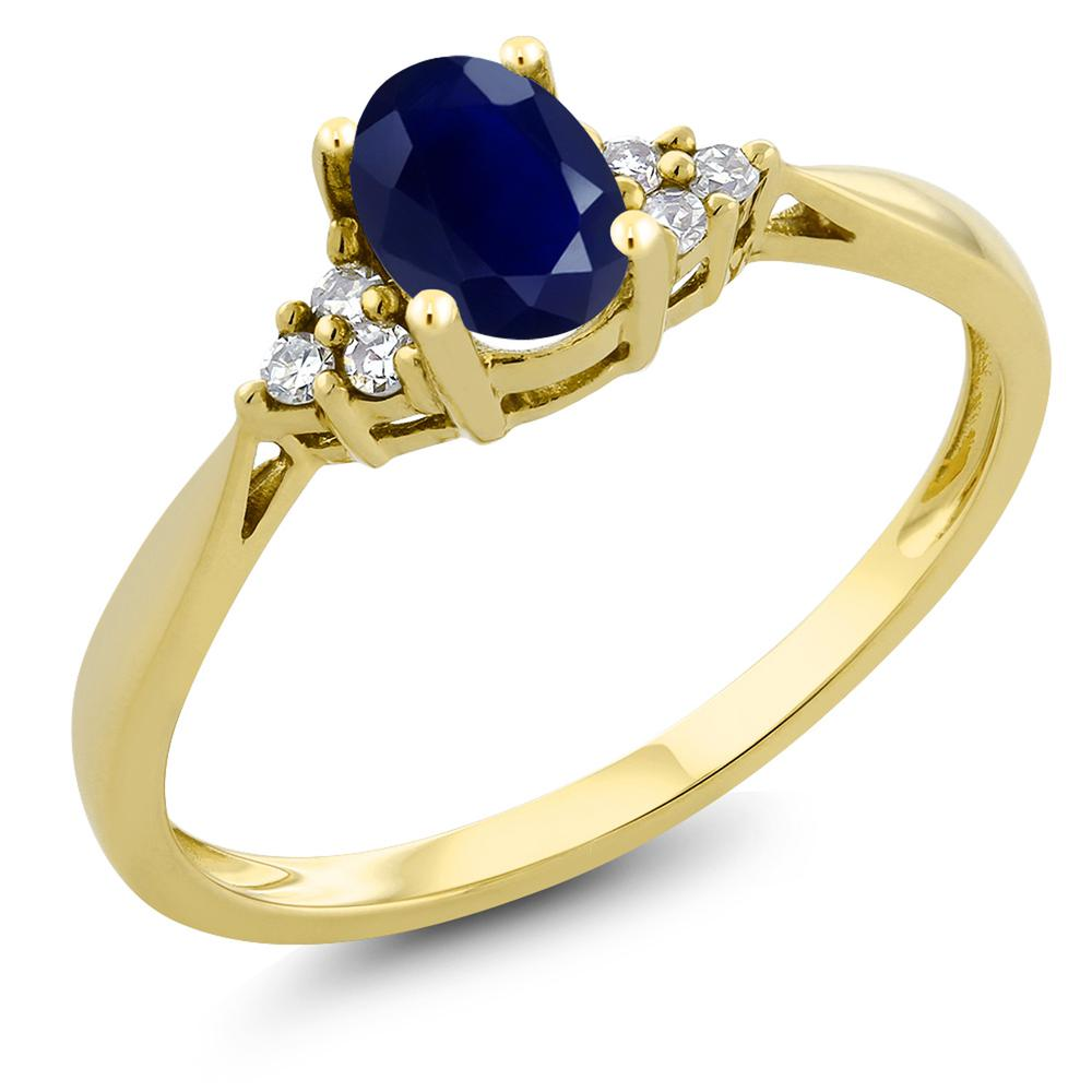 Gem Stone King 0.55カラット 天然 サファイア 天然 ダイヤモンド 14金 イエローゴールド(K14) 指輪 リング レディース ソリティア 天然石 9月 誕生石 金属アレルギー対応 誕生日プレゼント