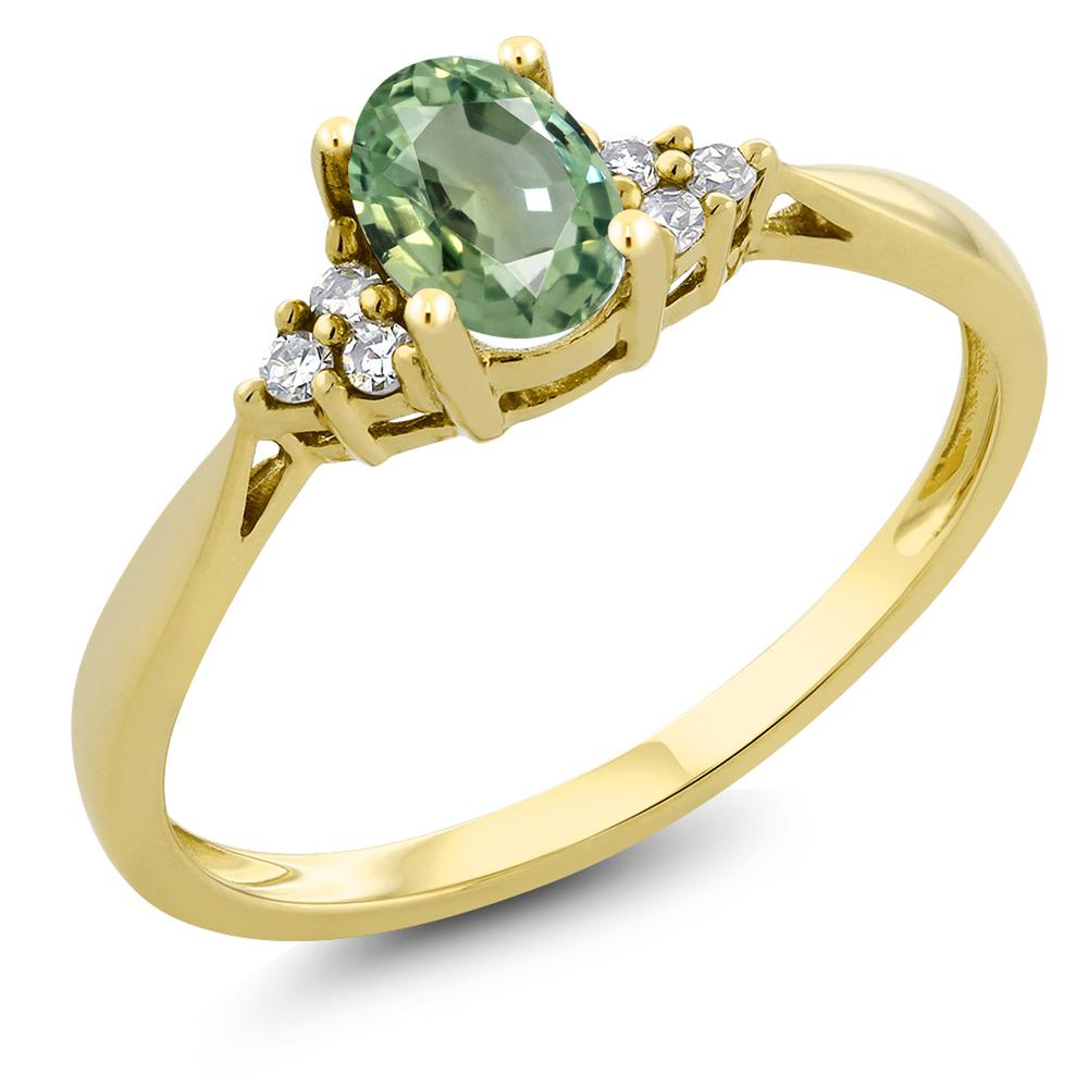 Gem Stone King 0.55カラット 天然 グリーンサファイア 天然 ダイヤモンド 14金 イエローゴールド(K14) 指輪 リング レディース ソリティア 天然石 9月 誕生石 金属アレルギー対応 誕生日プレゼント
