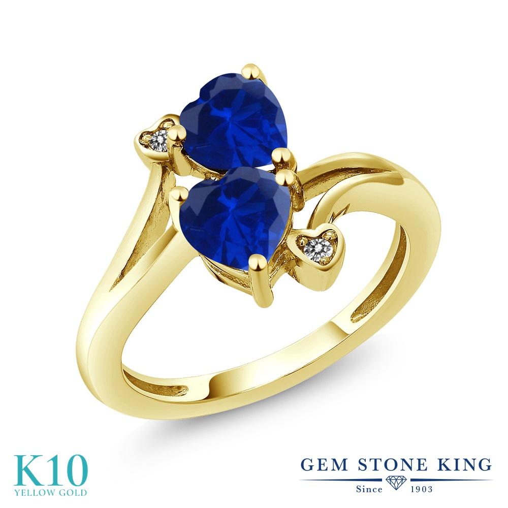 Gem Stone King 1.63カラット シミュレイテッド サファイア 天然 ダイヤモンド 10金 イエローゴールド(K10) 指輪 リング レディース ダブルストーン 金属アレルギー対応 誕生日プレゼント