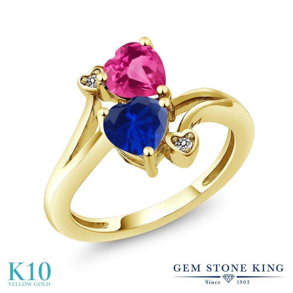 Gem Stone King 1.63カラット シミュレイテッド サファイア 合成ピンクサファイア 天然 ダイヤモンド 10金 イエローゴールド(K10) 指輪 リング レディース ダブルストーン 金属アレルギー対応 誕生日プレゼント
