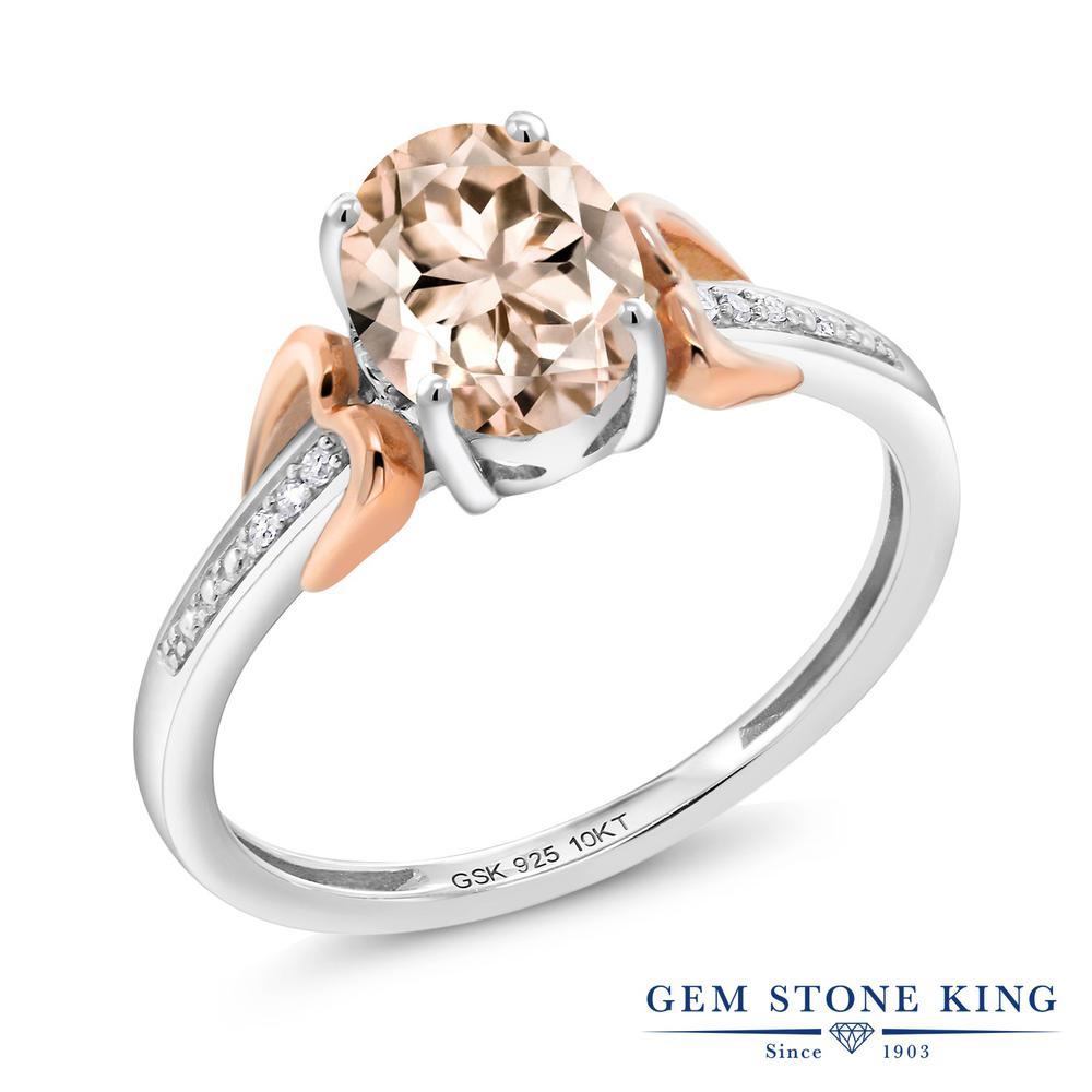 Gem Stone King 1カラット 天然 モルガナイト (ピーチ) 天然 ダイヤモンド シルバー925 &10金 ピンクゴールド (K10) 指輪 リング レディース 大粒 マルチストーン 天然石 3月 誕生石 金属アレルギー対応 誕生日プレゼント