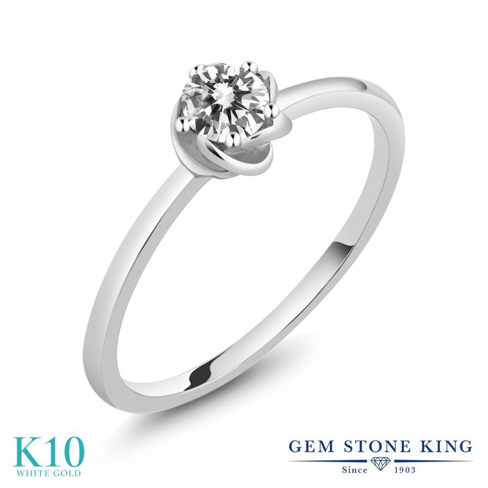 Gem Stone King 0.1カラット 天然 ダイヤモンド 10金 ホワイトゴールド(K10) 指輪 リング レディース ホワイト ダイヤ 小粒 一粒 シンプル ソリティア 華奢 細身 天然石 4月 誕生石 金属アレルギー対応 誕生日プレゼント