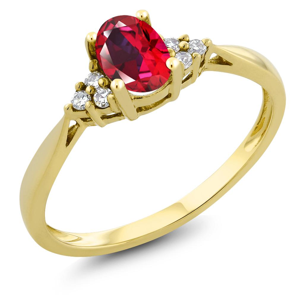 Gem Stone King 0.5カラット 天然石 レッドトパーズ (スワロフスキー 天然石シリーズ) 天然 ダイヤモンド 14金 イエローゴールド(K14) 指輪 リング レディース 小粒 ソリティア 天然石 金属アレルギー対応 誕生日プレゼント