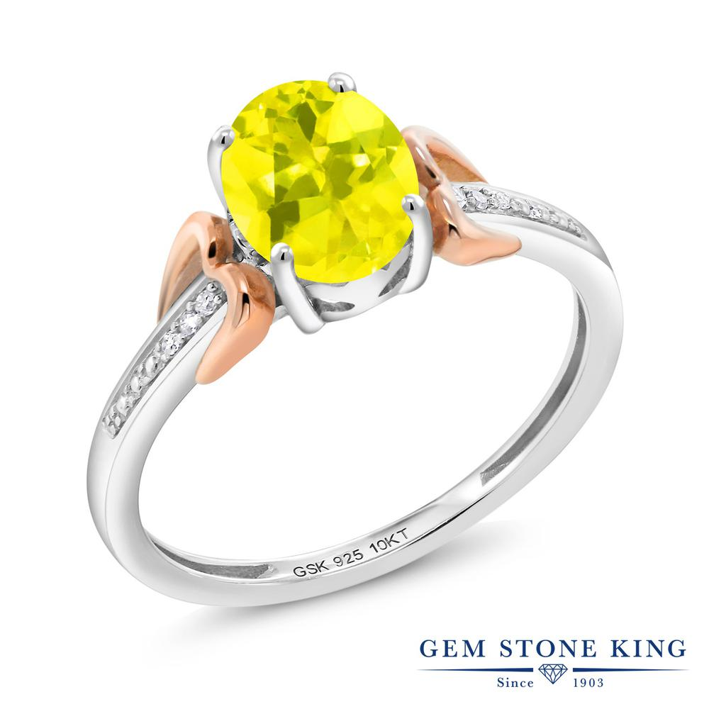 Gem Stone King 1.3カラット 天然石 ミスティックトパーズ (イエロー) 天然 ダイヤモンド &指輪 リング レディース 10金 ピンクゴールド K10 シルバー925 大粒 マルチストーン 金属アレルギー対応