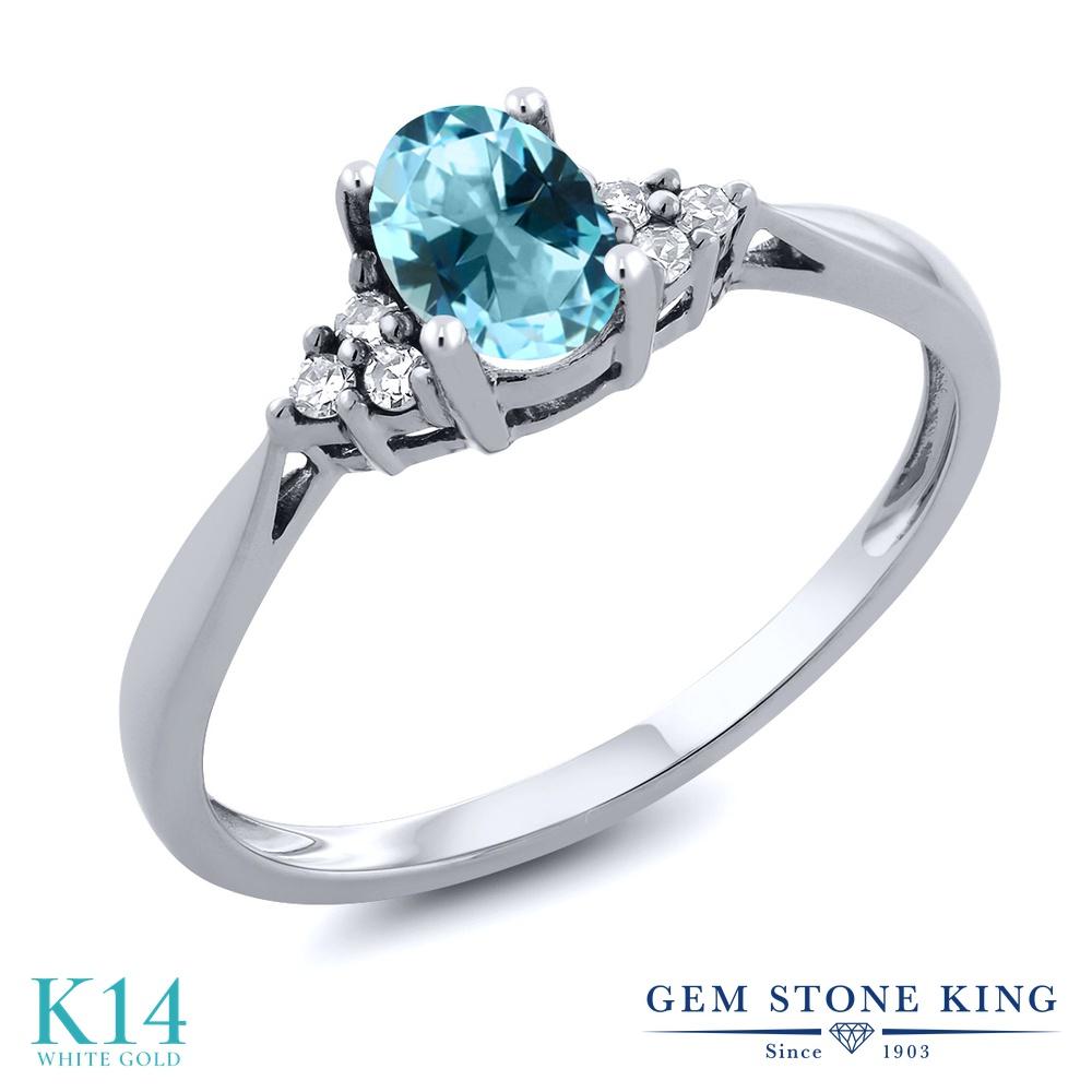Gem Stone King 0.5カラット 天然石 アイスブルートパーズ (スワロフスキー 天然石シリーズ) 天然 ダイヤモンド 14金 ホワイトゴールド(K14) 指輪 リング レディース 小粒 ソリティア 天然石 金属アレルギー対応 誕生日プレゼント
