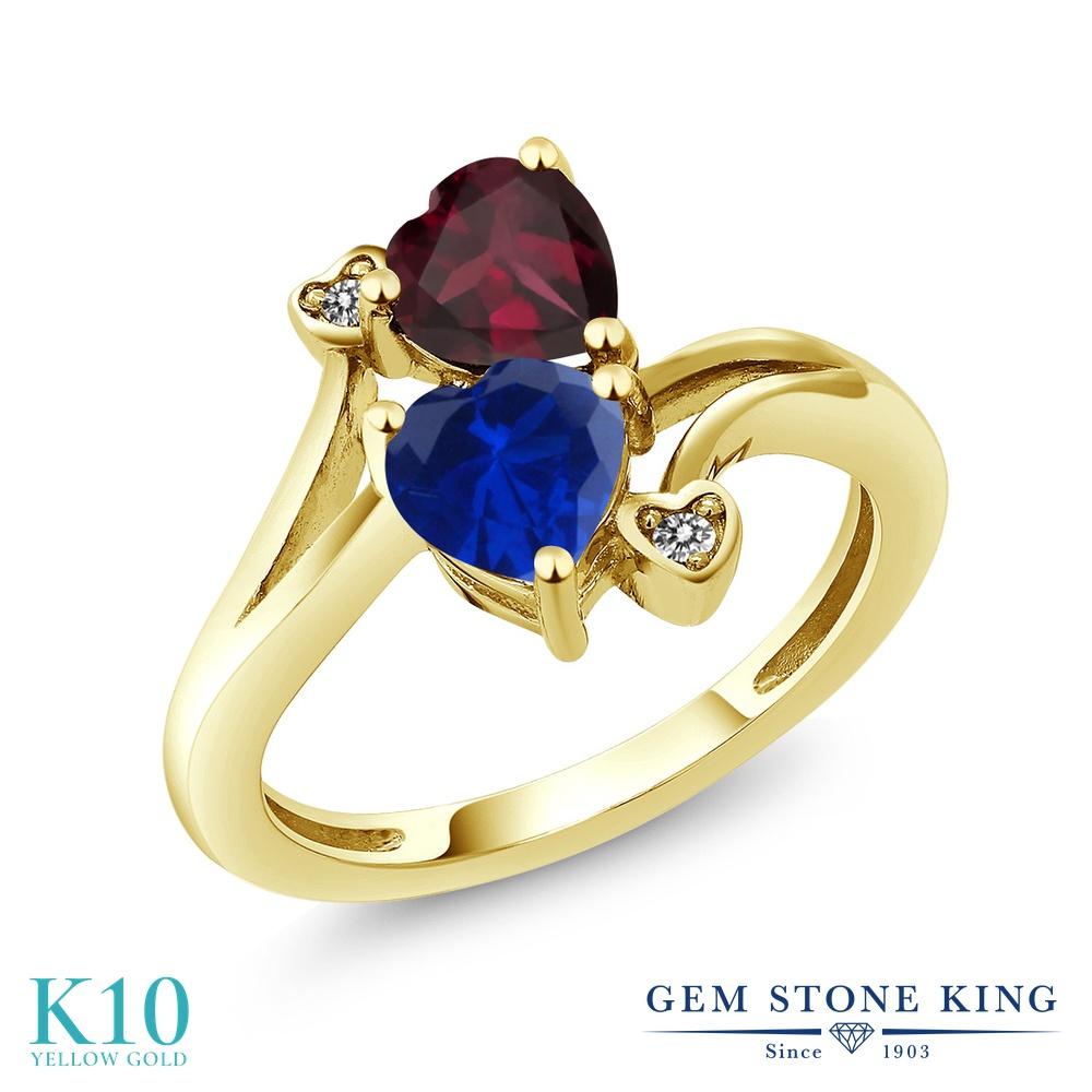 【10%OFF】 Gem Stone King 1.55カラット シミュレイテッド サファイア 天然 ロードライトガーネット ダイヤモンド 指輪 リング レディース 10金 イエローゴールド K10 ダブルストーン クリスマスプレゼント 女性 彼女 妻 誕生日