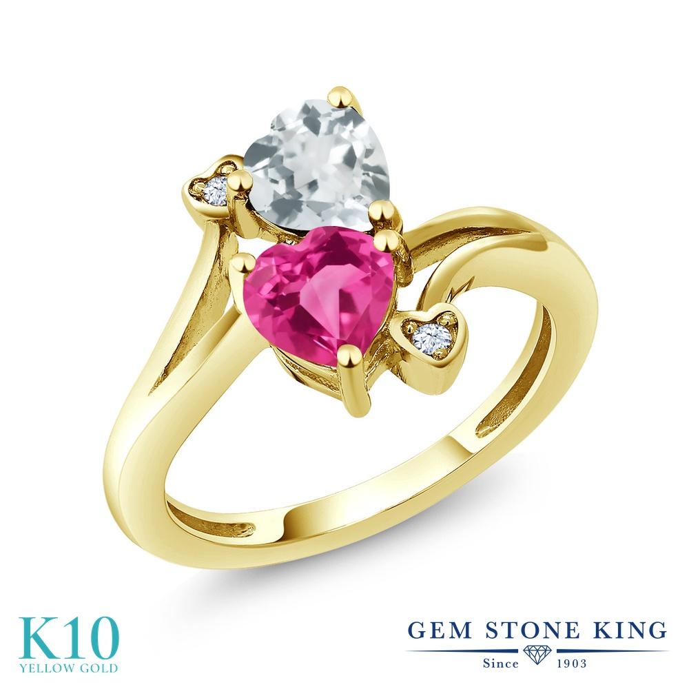 Gem Stone King 1.5カラット 合成ピンクサファイア 天然 アクアマリン 10金 イエローゴールド(K10) 指輪 リング レディース ダブルストーン 金属アレルギー対応 誕生日プレゼント