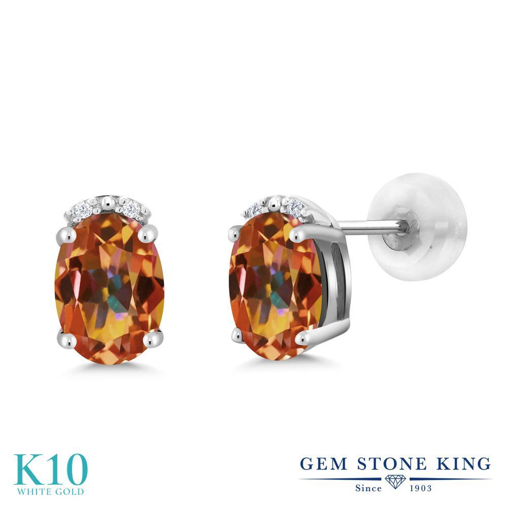 Gem Stone King 1.63カラット 天然石 エクスタシーミスティックトパーズ 10金 ホワイトゴールド(K10) 天然ダイヤモンド ピアス レディース スタッド 天然石 金属アレルギー対応 誕生日プレゼント