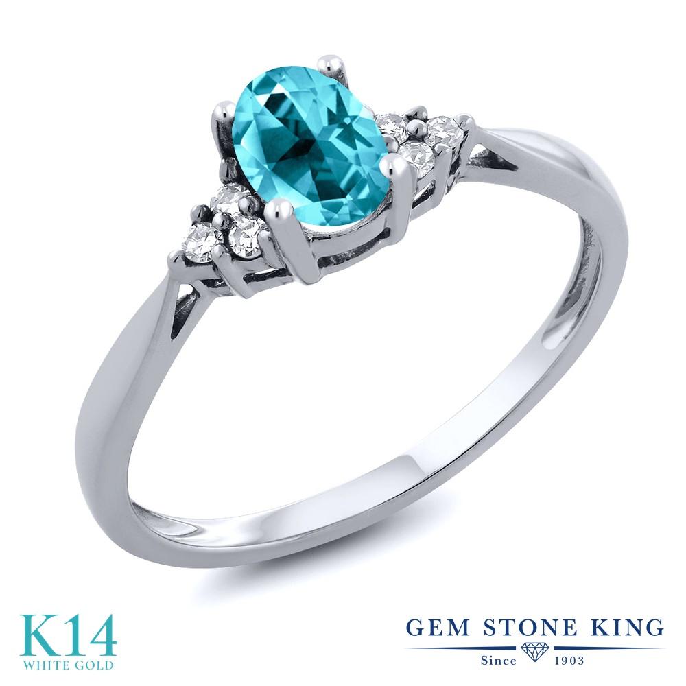Gem Stone King 1カラット 天然石 パライバトパーズ (スワロフスキー 天然石シリーズ) 天然 ダイヤモンド 14金 ホワイトゴールド(K14) 指輪 リング レディース 大粒 ソリティア 天然石 金属アレルギー対応 誕生日プレゼント