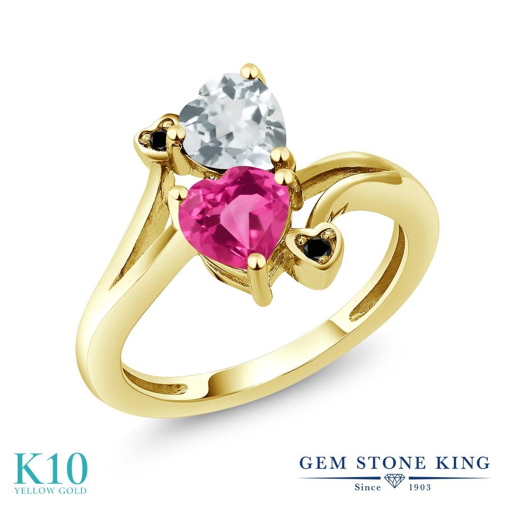 【10%OFF】 Gem Stone King 1.5カラット 合成ピンクサファイア 天然 アクアマリン ブラックダイヤモンド 指輪 リング レディース 10金 イエローゴールド K10 ダブルストーン クリスマスプレゼント 女性 彼女 妻 誕生日
