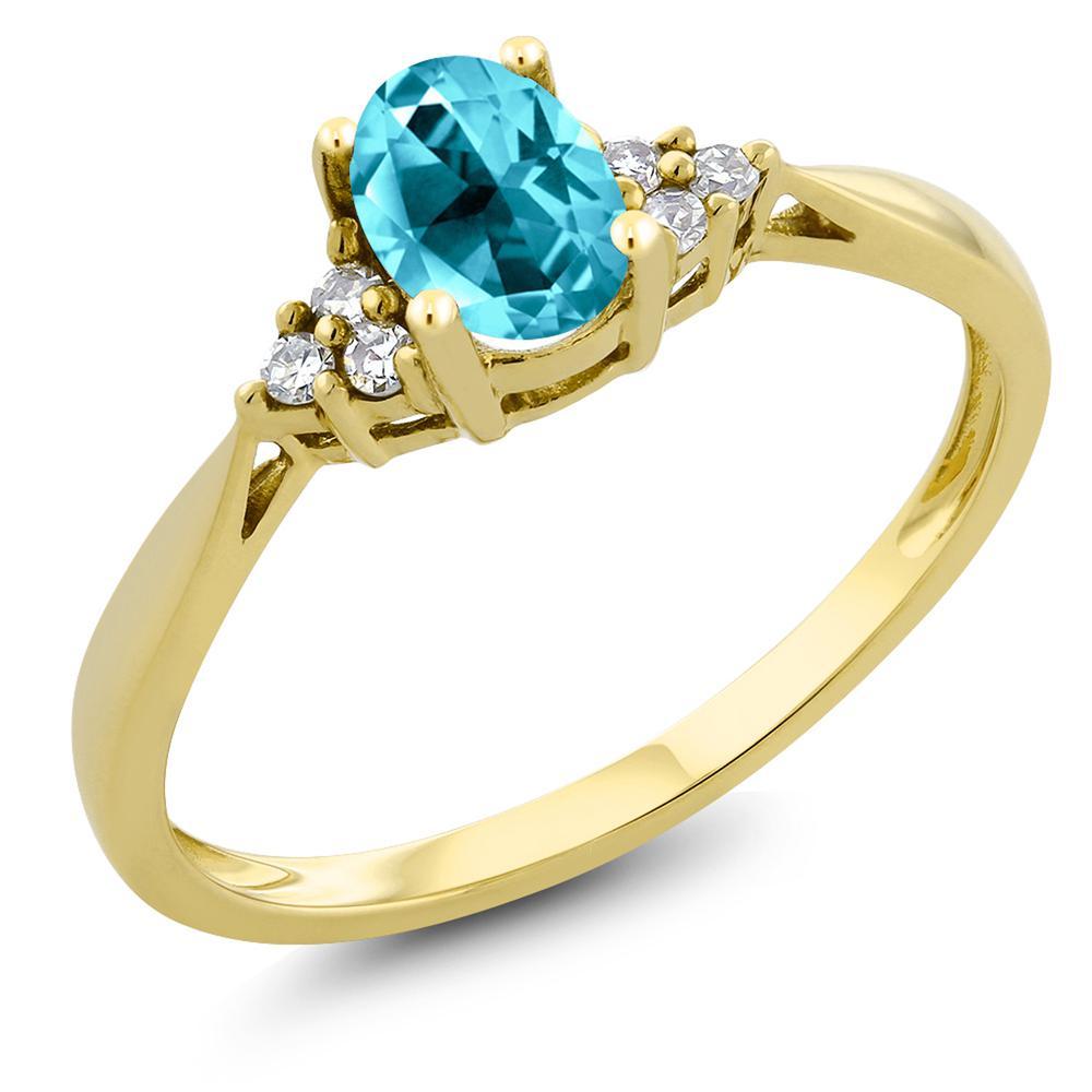 Gem Stone King 1カラット 天然石 パライバトパーズ (スワロフスキー 天然石シリーズ) 天然 ダイヤモンド 14金 イエローゴールド(K14) 指輪 リング レディース 大粒 ソリティア 天然石 金属アレルギー対応 誕生日プレゼント