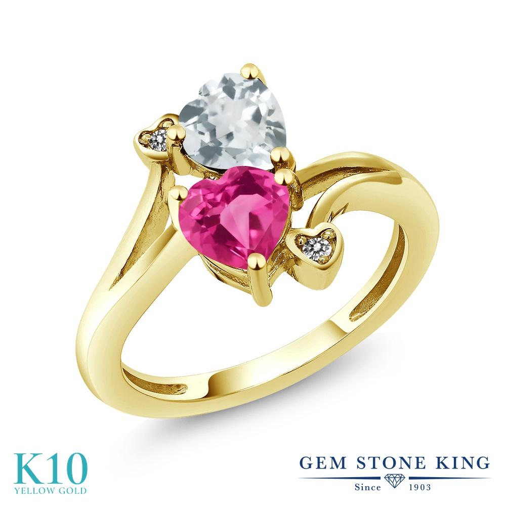 Gem Stone King 1.5カラット 合成ピンクサファイア 天然 アクアマリン 天然 ダイヤモンド 10金 イエローゴールド(K10) 指輪 リング レディース ダブルストーン 金属アレルギー対応 誕生日プレゼント