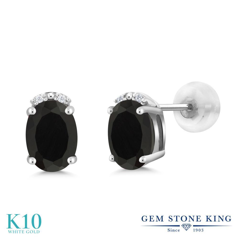 Gem Stone King 1.63カラット 天然ブラックオニキス 10金 ホワイトゴールド(K10) 天然ダイヤモンド ピアス レディース スタッド 天然石 誕生石 金属アレルギー対応 誕生日プレゼント