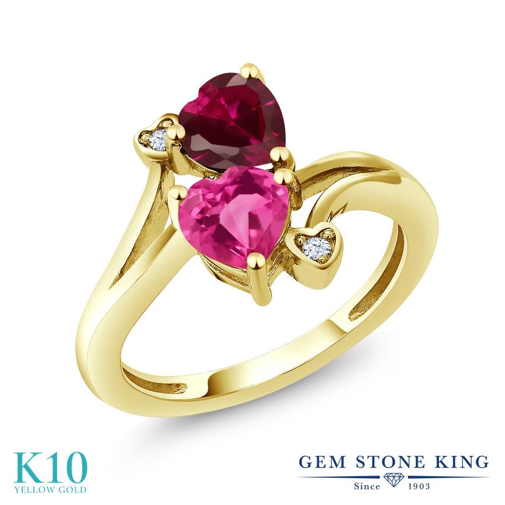 Gem Stone King 1.79カラット 合成ピンクサファイア 合成ルビー 10金 イエローゴールド(K10) 指輪 リング レディース ダブルストーン 金属アレルギー対応 誕生日プレゼント